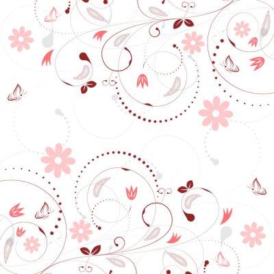 Fototapeta Květinové vektorové pozadí s vintage květinovým vzorem a motýly.