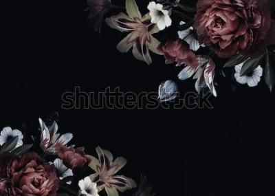 Fototapeta Květinové vinobraní karta s květinami. Pivoňky, tulipány, lilie, hortenzie na černém pozadí. Šablona pro design svatební pozvánky, sváteční pozdravy, vizitky, dekorace balení