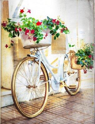 Fototapeta květinový bike - vintage karta