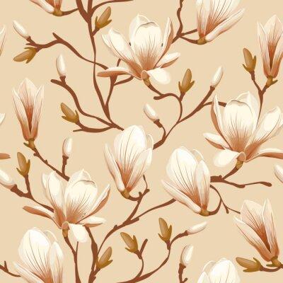 Fototapeta Květinový vzor bezešvé - magnolie