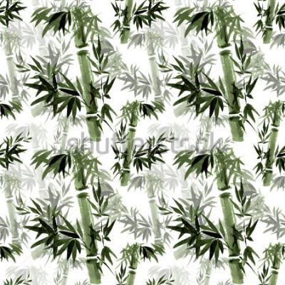 Fototapeta Květinový vzor bezešvé. Šumění bambusu ve větru. Východní tradiční umění, akvarel, inkoust, bez štětců.