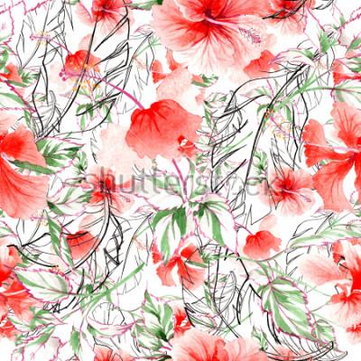 Fototapeta Květinový vzorek Wildflower ve stylu akvarel. Úplný název rostliny: růže, rosa, hultémie. Akvarelová divoká květina na pozadí, textura, obalový vzor, rám nebo hranice.