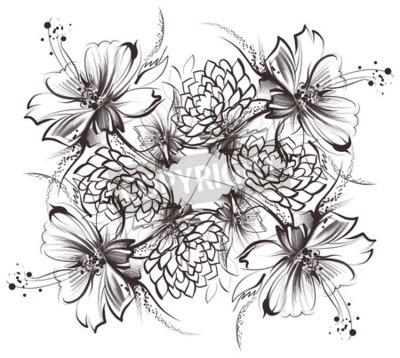 Kvetiny Kresleni S Jednoduchym Tuzkou A Uhlim Na Stare Bilem