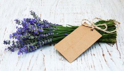 Fototapeta květy levandule se štítkem