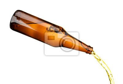 Fototapeta Láhev piva nalití izolovaných na bílém pozadí objektu jídlo a pití nápoj objektu designu