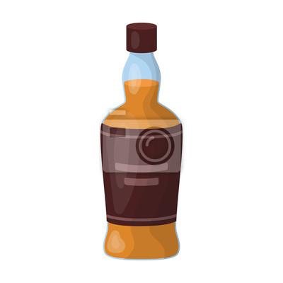 Lahev Skotske Whisky Ikony V Kresleny Styl Na Bilem Pozadi Skotsko