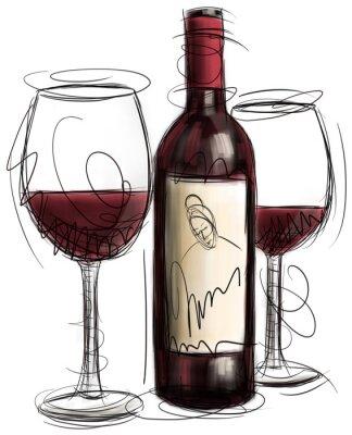 Fototapeta Láhev vína a brýle