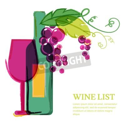 Fototapeta Láhev vína, sklo, růžový révy vinné, akvarel ilustrační. Abstraktní vektor pozadí šablony návrhu. Koncept pro vinného lístku, menu, leták, večírek, alkoholických nápojů, oslavu svátků.