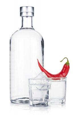 Fototapeta Láhev vodky a skleničku s ledem a červeným chilli