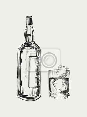 Lahev Whisky A Sklo Rucne Kreslenymi Vektorove Ilustrace Drink