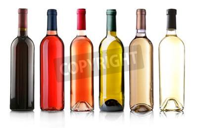 Fototapeta Láhve vína v řadě na bílém