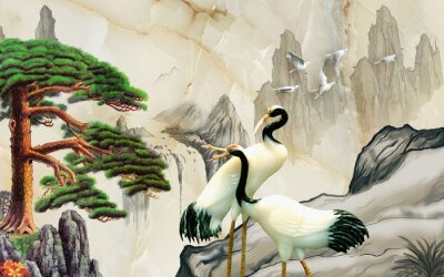 Fototapeta Landscape illustration, marble, mountains, a pair of cranes, green pine on a rock