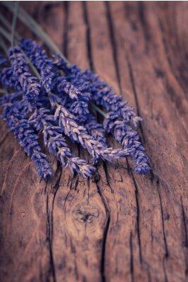 Fototapeta Lavender květiny na dřevo