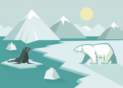 Fototapeta Lední medvěd a těsnění - plochý design