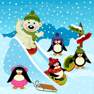 Fototapeta lední medvěd a tučňák na ledové slide - vektorové ilustrace, eps