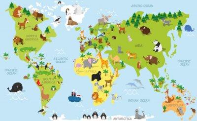 Fototapeta Legrační karikatury mapa světa s tradičními zvířat všech světadílů a oceánů. Vektorové ilustrace pro předškolní vzdělávání a děti designu