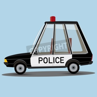 Legracni Kresleny Styl Policejni Auto Fototapeta Fototapety