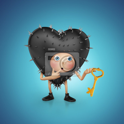 Fototapeta legrační zvědavý Valentine cartoon srdce drží klíč