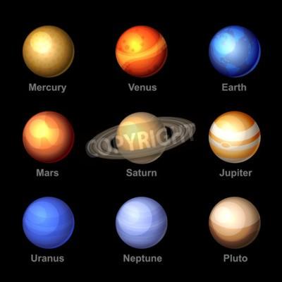 Fototapeta Lesklé barvy Planety sluneční soustavy ikon. Vektor.