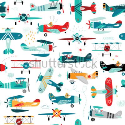Fototapeta letadla chlapci bezešvé vzor