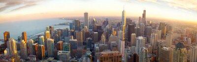 Fototapeta Letecký Chicago panorama při západu slunce, IL, USA