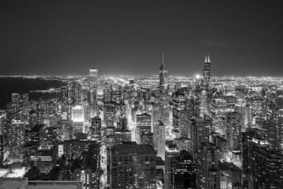 Fototapeta Letecký pohled na panorama města Chicago při západu slunce z vysoko nad.
