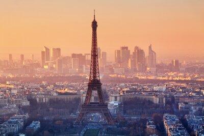 Fototapeta Letecký pohled na Paříž při západu slunce