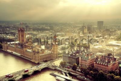 Fototapeta Letecký pohled na Westminster s městem Panoráma města Temže a Londýn.