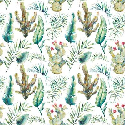Fototapeta Letní palma, kaktus a banánové listy bezproblémové vzorek. Akvarel zelené větve a kvetoucí šťavnaté na bílém pozadí. Exotické tapety