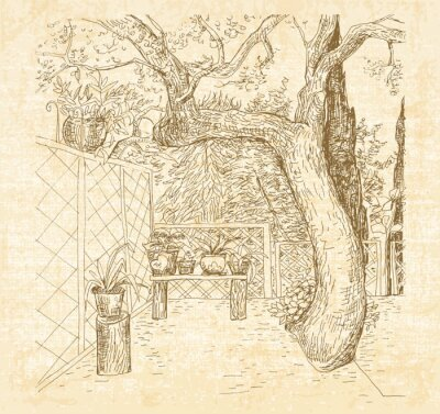 Fototapeta Letní slunné terase v umění doodle stylu pera. Ručně kreslenými vektorové skica s plátěným texturami pozadí.