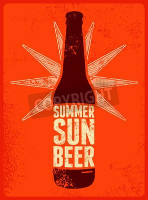 Fototapeta Léto, slunce, Beer. Typografické retro grunge pivo plakát. Vektorové ilustrace.