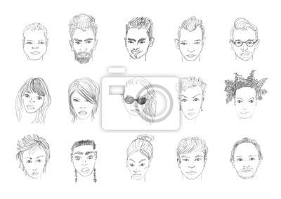 Lide Stoji Kresba Tuzkou Muzi A Zeny Celi Rucni Kresleni Karikaturu