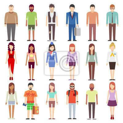e38a68718a5 Fototapeta Lidé v neformálním oblečení na plocho ikony. Lidé mladých mužů a  žen. Osoba