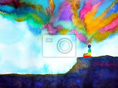 Fototapeta lidské a duch silné energie připojit k sílu vesmíru abstraktní umění akvarel malba ilustrace design ručně kreslený