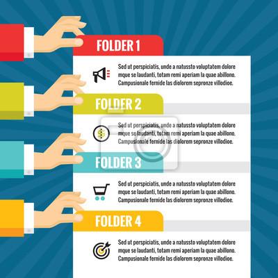 Fototapeta Lidské ruce s číslovaných bloků - Infographic obchodní koncept -  vektorové pojetí ilustrace v plochém 3f6e03f5cc