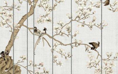 Fototapeta Light textured background, white magnolia flowers on a tree and birds