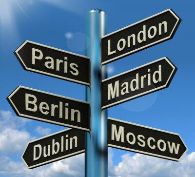 Fototapeta Londýn Paříž Madrid Berlin rozcestník Zobrazuji Europe Travel touris