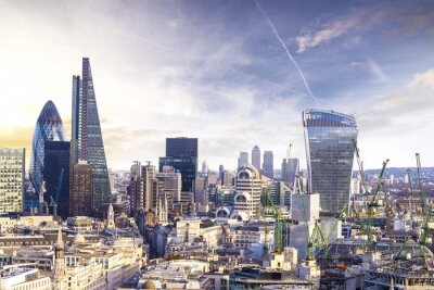 Fototapeta Londýn západ slunce, pohled na obchodní moderní čtvrti