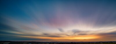 Fototapeta Long exposure sunset panorama with beautiful sky