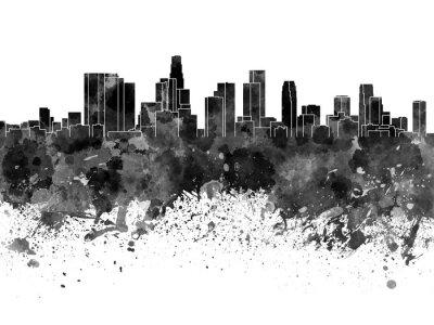 Fototapeta Los Angeles panorama v černé akvarel na bílém pozadí