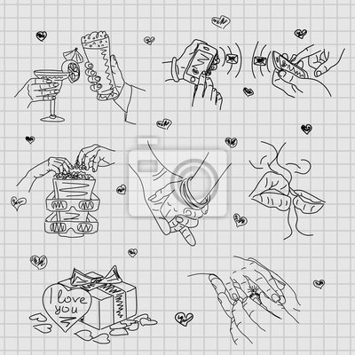 Love Story Sada Vektorove Ilustrace Lasky Roztomily Romanticke