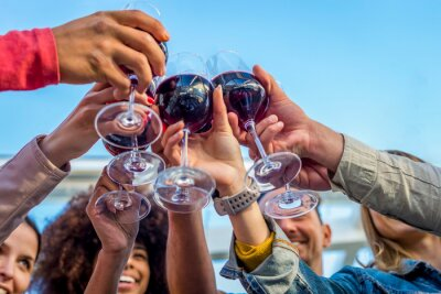 Fototapeta low angle cropped view of a diverse group of friends in a party making a celebratory toast clinking wine glasses. happy people having fun at summer sunset happy hour. focus on glasses from below.