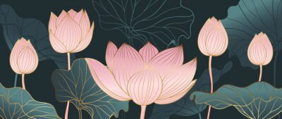 Fototapeta Luxurious background design with golden lotus. Lotus flowers line arts design for wallpaper, natural wall arts, banner, prints, invitation and packaging design. vector illustration.