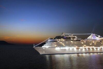 Fototapeta Luxury cruise ship sailing to port on sunrise