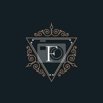 3a308f40d78 Fototapeta Luxury F logo ročník tenká čára šablona koncept piktogramu.  Květinový ornament kaligrafické elegantní lineární