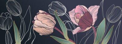 Fototapeta Luxury pink tulips background vector with golden metallic decorate wall art