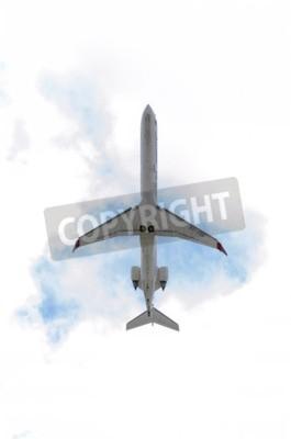 Fototapeta MADRID, ŠPANĚLSKO - 14.června 2015: Letadlo -Bombardier Canadair CRJ-900-, z -Air Nostrum- letecké společnosti, je vzlétl z letiště Madrid-Barajas -Adolfo Suarez-, na 14. června 2015.