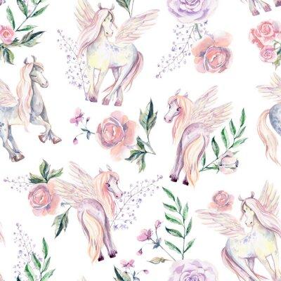 Fototapeta Magic Pegasuses v bezešvé pattern. Akvarel ilustrace, být