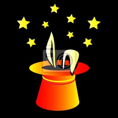 fa5eb75453d Magie králík v klobouku vektorové ilustrace fototapeta • fototapety ...