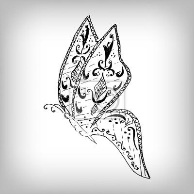 Magie Motyl Styl Zentangle Volna Kresba Vysoke Detaily Na Bilem